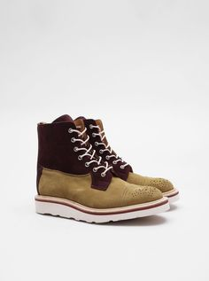 Trickers for Present Two Tone Superboot Burgundy Tan
