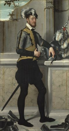 giovanni battista moroni, portrait of a knight with his jousting helmet, c. 1554-58, london, national gallery