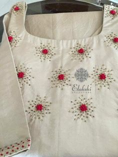 ideas embroidery blouse embellishments for 2019 Embroidery On Kurtis, Hand Embroidery Dress, Kurti Embroidery Design, Embroidery Neck Designs, Embroidery On Clothes, Hand Embroidery Stitches, Embroidery Fashion, Beaded Embroidery, Embroidery Patterns