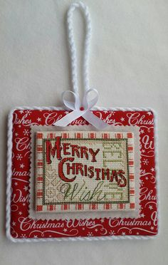 Finished Christmas cross stitch ornament, wall or door hanger, Merry Christmas home decor.