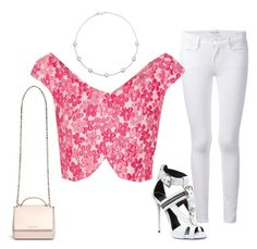 SS - DN - SKINNY JEANS, TOP, SANDALS - WHITE, FLORAL PINKS by laliquemurano on Polyvore featuring Simone Rocha, Frame Denim, Giuseppe Zanotti, Givenchy and Ippolita