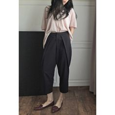 Garconne Tomboy Style Low-Crotch Oversize Culotte Sarouel Trousers... (€87) ❤ liked on Polyvore featuring pants, capris, grey, women's clothing, drop-crotch pants, grey trousers, saggy pants, low pants and slouchy trousers
