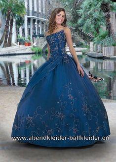 Ballkleid Eleanor in Blau mit Stickereien