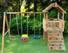 Adventure Pak Cubby House Australian-Made Wooden Playground Equipment DIY Kits Backyard Swing Sets, Diy Swing, Backyard For Kids, Backyard Games, Backyard Fort, Backyard Ideas, Diy Playground, Cubby Houses, Play Houses
