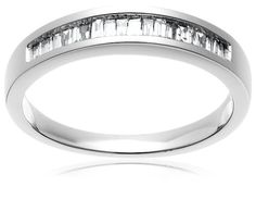 10k White Gold Baguette Channel-Set Diamond Band (1/5 cttw, J-K Color, I2-I3 Clarity), Size 9 review