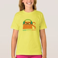 Cat Hipster Music Glasses Bright Modern Funny Cool T-Shirt - #customizable create your own personalize diy