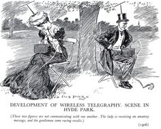 Couple engrossed in their wireless devices ignore each other (1906) - Boing Boing