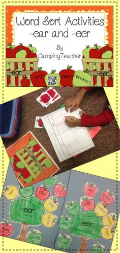 Word Sort Activities for -eer and -ear. Love using the apples and apple trees for fall.