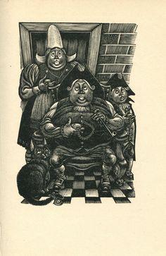Fritz Eichenberg Print /Bookplate 1944 Edgar Allan Poe Family Cat Wood Cut Decor #Surrealism