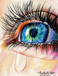 Color Pencil Drawing realistic eye drawing with colored pencils - Art Sketches, Art Drawings, Amazing Pencil Drawings, Drawing With Pencil, Colored Pencil Drawings, Colorful Drawings, Realistic Eye Drawing, Drawing Eyes, Desenho Tattoo