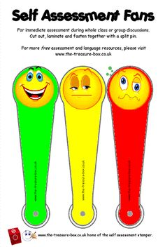 Self Assessment Smiley Face FansFor immediate assessment during whole class or group discussions or class work. The child simply chooses the gree. Literacy Assessment, Formative And Summative Assessment, Student Self Assessment, Teaching Skills, Teaching Kindergarten, Teaching Ideas, Smileys, Classroom Charts, Classroom Ideas