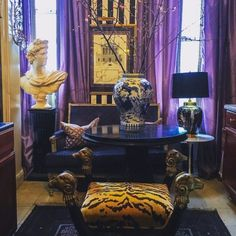 Instagram's Favorite Pretentious Maximalist Shares the Joys of Living Well - 1stDibs Introspective Off White Walls, Black Walls, Joy Of Living, Home And Living, Living Rooms, Living Spaces, Chandeliers, French Daybed, Bohemian Design