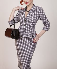 Another great find on #zulily! Black Checkers Pencil Skirt - Plus by Tatyana #zulilyfinds