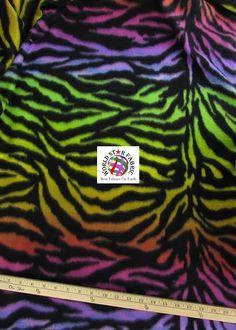 "#Rainbow #Zebra Anti-pill #Fleece Fabric 60"" Width Sold By The Yard"