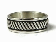 Sterling Silver Band Ring Size 7 by Bruce Morgan, Navajo - Sterling Silver Band Ring Size 7 by Bruce Morgan, Navajo | Southwest Fashion | Native American Jewelry