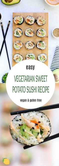 This healthy vegetarian sushi recipe is the perfect recipe for a date night in! It's easy, delicious, and is the perfect vegan and gluten free dinner recipe. Sweet Potato Tempura, Sweet Potato Rolls, Sweet Potato Slices, Vegetarian Sushi Recipes, Vegan Recipes, Vegan Meals, Yummy Recipes, Recipies, Dinner Recipes