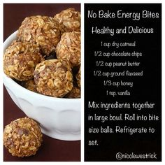I use only 1/4c. choc. chips and add 1/2c. toasted coconut chips and I use North Shore Goodies coconut peanut butter No Bake Energy Bites, Treats, Muffins, Healthy Eating, Baking, Snacks, Breakfast, Recipes, Food