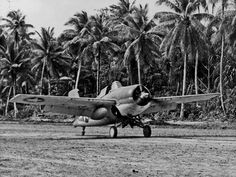 An F4F-4 Wildcat of Marine Fighting Squadron (VMF) 441 taxis at the airfield on Nanumea in the Ellice Islands in September 1943