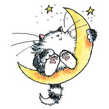 "Penny Black Mounted Rubber Stamp 2.5""X3""-Cat On The Moon"