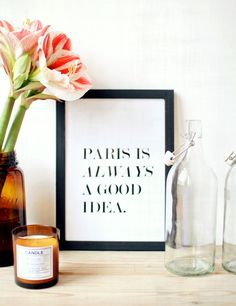 simple quotes framed in black and white // wall decor for the office