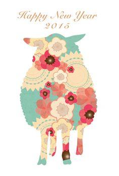 羊とお花 年賀状