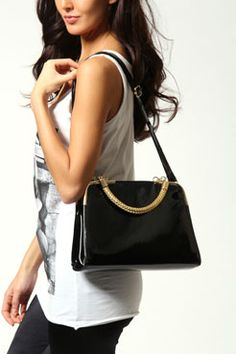 Lola Thick Gold Handle Shoulder Bag