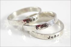 Custom Skinny Ring | Personalize with Your Name, Date, Initials | Christmas Gift for Mom or Wife