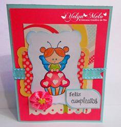"""El Universo Creativo de Tita: Reto Latina Crafter #32  Utilizando set de sellos: @Softpencil Studios """"Eres mi cupcake"""" @Latina Crafter """"Hoy es tu día"""""""