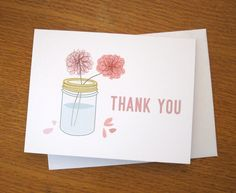 Mason Jar of Flowers Thank You note card
