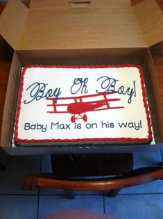 Red white and blue vintage airplane baby shower cake