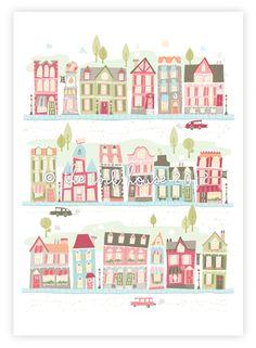 Nursery art print, baby girl, room decor, children's wall art, girl, illustration, pink, print, house, houses, village, map. $15.00, via Etsy.