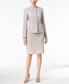 Le Suit Four-Button Tweed Skirt Suit - Wear to Work - Women - Macy's Tweed Skirt, Tweed Dress, Skirt Suit, Peplum Dress, Beige Blazer, Working Woman, Work Wear, Casual, Suits