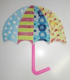 deštník, z papíru a brčka