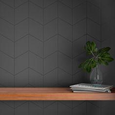 Tile Accent Wall, Wall Tiles, Accent Wall Designs, Dark Gray Backsplash, Dark Grey Tiles, Dark Grey Kitchen, Contemporary Kitchen Backsplash, Dark Gray Bathroom, Modern Kitchen Backsplash