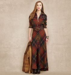 Plaid Wool-Cashmere Maxidress