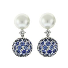 """Pearl Sapphire Diamond """"Moonlight"""" Ear Clips 