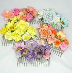 Set of five haircombs for bridesmaids  or flowergirls. Custommade by cloudcake on Etsy