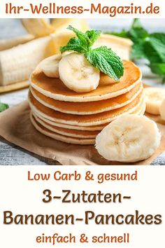 Healthy banana pancakes: Simple low-carb recipe for quick, fluffy pancakes – low-calorie, sugar-free pancakes without flour – for a Healthy Low Carb Recipes, Healthy Dessert Recipes, Keto Snacks, Low Carb Breakfast, Breakfast Recipes, Banana Breakfast, Sugar Free Pancakes, Low Carb Pancakes Banana, Le Diner