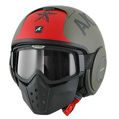 Shark Raw Soyouz Matte Green/Red/Black Full Face Helmet - LeatherUp.com