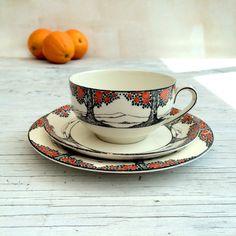 Crown Ducal Orange Tree Art Deco Tea Trio. Cup Saucer and