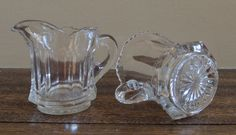 Vintage Thick Glass Sugar Dish and Creamer / by LeBrunDesignsInc