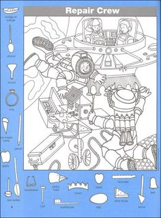 Hidden Pictures Classics: In Space Details - Rainbow Resource Center… Hidden Object Puzzles, Hidden Picture Puzzles, Puzzles For Kids, Activities For Kids, Colouring Pages, Coloring Books, Highlights Hidden Pictures, Hidden Pictures Printables, Find The Hidden Objects