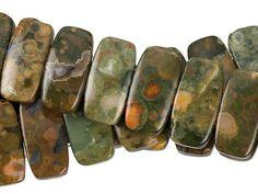 Dakota Stones Rhyolite 10 x 20mm Rectangle Double-Drilled Bead Strand
