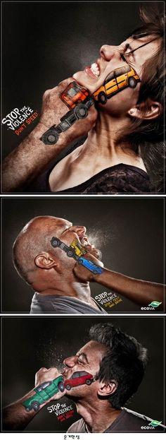 Stop the Violence Ad Campaign by Terremoto Propaganda 운전 조심하세요!