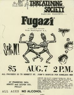 Fugazi gig flyer from 1987 published by Threatening Society fanzine New Flyer, Radio Flyer, Graphic Design Posters, Graphic Design Typography, Punk Poster, Sketch Tattoo Design, Music Album Covers, Heavy Metal Music, Identity Art
