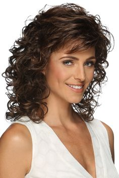 Shoulder length layered wig with spiral curls. Features include super thin and resilient dual elastic sides and an all open-stretch cap construction.Length: Bang Side Crown Nape Size: Average Color Shown: Colors: Curly Hair With Bangs, Curly Hair Cuts, Curly Bob Hairstyles, Short Curly Hair, Hairstyles With Bangs, Curly Hair Styles, Medium Length Curly Hairstyles, Wedding Hairstyles, Hairstyle Ideas