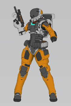rookie by Tri Nguyensome kind of space soldier Space Character, Female Character Concept, Character Design, Robot Concept Art, Armor Concept, Science Fiction, Pulp Fiction, Space Soldier, Military Robot