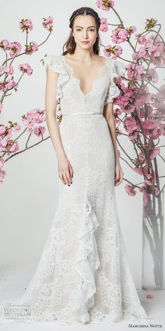 marchesa notte spring 2018 bridal butterfly sleeves v neck full embellishment elegant romantic trumpet wedding dress short train (2) mv -- Marchesa Notte Spring 2018 Wedding Dresses