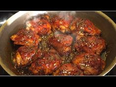 Honey Garlic Glazed Chicken Thigh - YouTube Honey Garlic Chicken Thighs, Honey Glazed Chicken, Chicken Thigh Recipes, Best Chicken Recipes, Chicken Meals, Easy Dinner Recipes, Cooking Recipes, Stuffed Peppers, Dinner Ideas