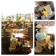 Vintage rustic wedding dessert bar! See more party ideas at CatchMyParty.com!